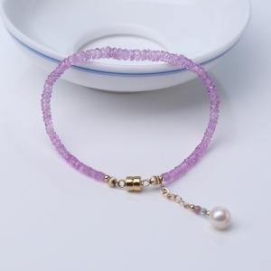 粉色蓝宝石切角蝶珠手链