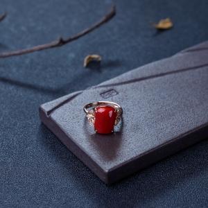 18K金鑲鉆阿卡深紅珊瑚戒指