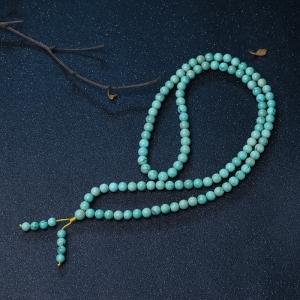 8.5mm高瓷铁线蓝绿绿松石108佛珠