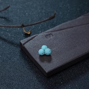 中高瓷蓝绿松石回纹珠套装(三件)