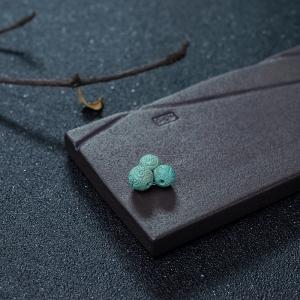 中高瓷蓝绿绿松石回纹珠套装(三件)