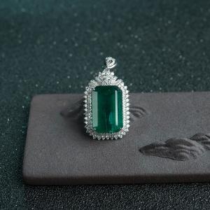 18K金鑲鉆藍綠祖母綠吊墜
