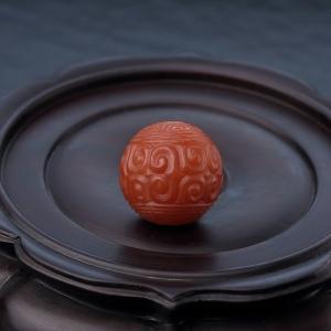 24mm柿子红南红回纹珠