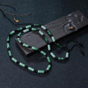 糯种飘花翡翠桶珠项链