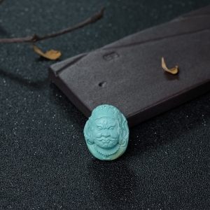 中高瓷蓝绿松石黄财神吊坠