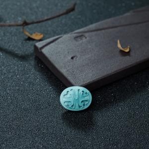 高瓷蓝绿松石镂雕四叶草背云