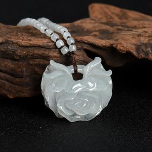 糯种白色翡翠玫瑰花吊坠