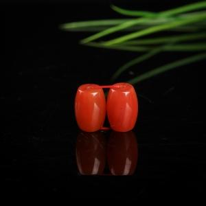 樱桃红南红桶珠