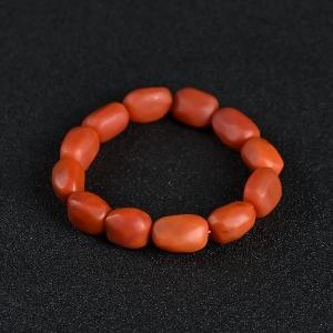 柿子红南红随形手串
