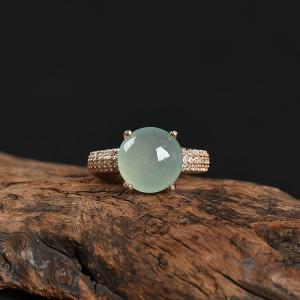 银镶糯种翡翠戒指