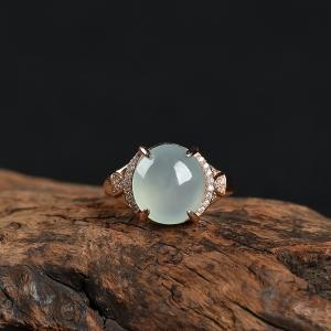 銀鑲糯冰種翡翠戒指
