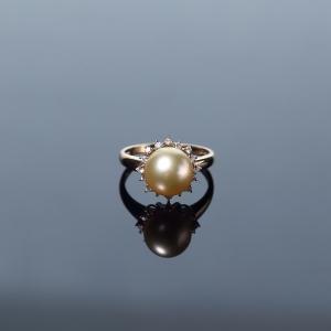 18K金鑲鉆金色珍珠戒指