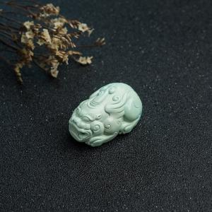 中高瓷浅蓝绿松石貔貅吊坠