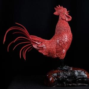 沙丁朱紅珊瑚拼接公雞擺件