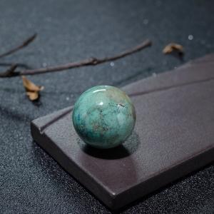 26mm高瓷铁线俏色绿松石圆珠