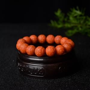 12mm柿子红南红回纹珠单圈手串
