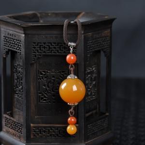 橙黄黄龙玉圆珠项链