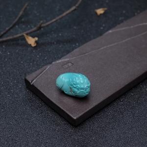高瓷铁线蓝绿松石貔貅吊坠
