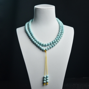 7mm中高瓷铁线浅蓝绿松石长链