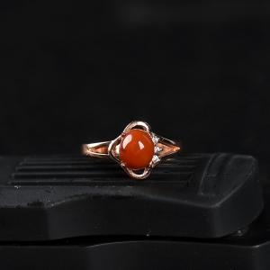 银镶柿子红南红戒指