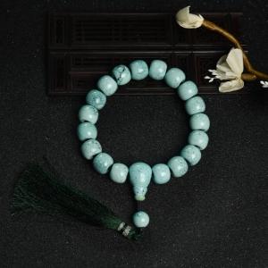 中高瓷铁线浅蓝绿松石桶珠手持