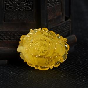 雞油黃金絞蜜牡丹花吊墜
