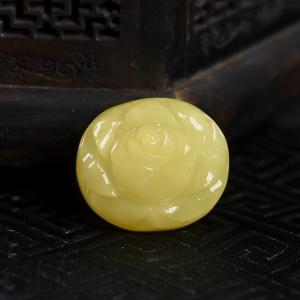 柠檬黄蜜蜡玫瑰花吊坠