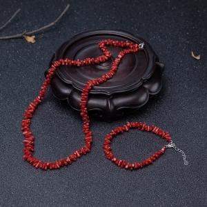 沙丁朱红珊瑚套装(两件)