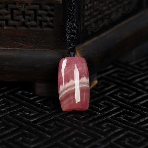 银镶红纹石桶珠吊坠