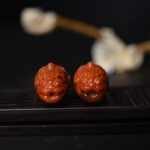 柿子红南红貔貅三通(两件)