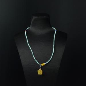 3.5mm中高瓷铁线蓝绿松石多圈手串