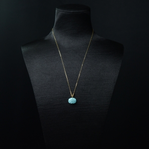 18K金镶高瓷铁线蓝绿绿松石项链