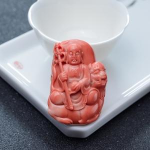 MOMO橘紅珊瑚地藏王菩薩吊墜