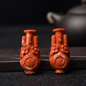 MOMO橘红珊瑚花瓶背云(两件)
