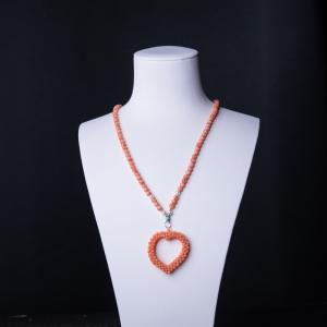 深水珊瑚编织心形项链