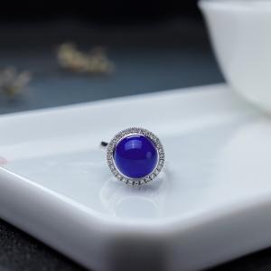 18K金镶钻青金石级深蓝色青金石戒指