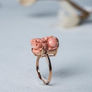 18K金鑲深水珊瑚貔貅戒指