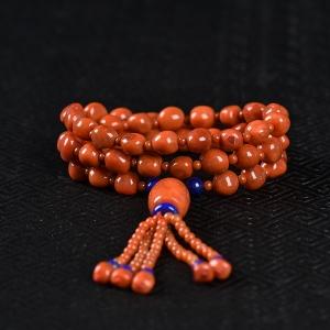 柿子红南红随形项链