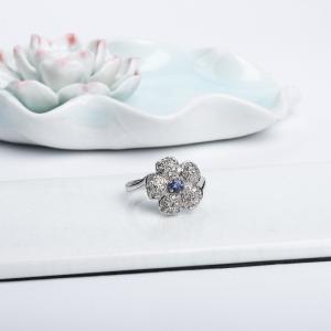 14K皇家蓝蓝宝石刻面戒指