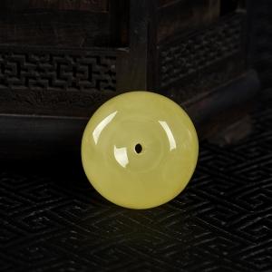 檸檬黃蜜蠟平安扣吊墜