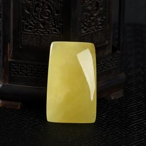 柠檬黄蜜蜡无事牌吊坠