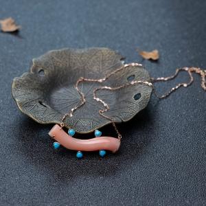 18K金镶深水珊瑚锁骨链