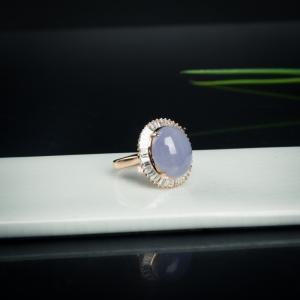 18k糯種紫羅蘭翡翠蛋面戒指