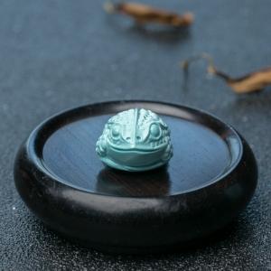 中高瓷浅蓝绿松石金蟾吊坠