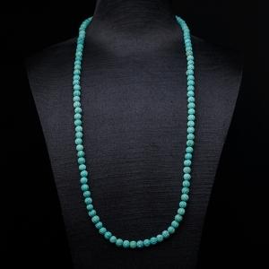 中高瓷铁线蓝绿绿松石莲花珠长链