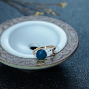 18K金鑲鉆多米藍珀戒指