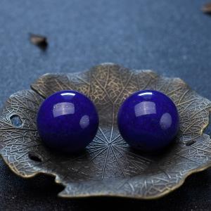 24.3mm紫蓝色青金石圆珠(两件)