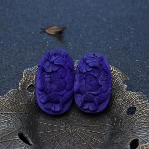 紫藍色青金石牡丹花吊墜(兩件)