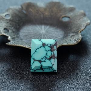 高瓷乌兰花蓝绿绿松石方牌吊坠