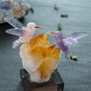 原矿水晶蜂鸟摆件